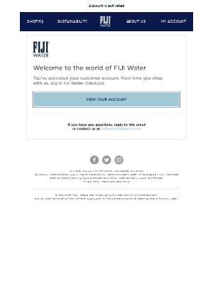 FIJI Water - Customer account confirmation