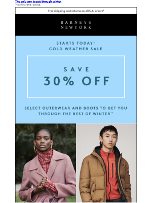 Save Big: 30% Off Outerwear and Boots