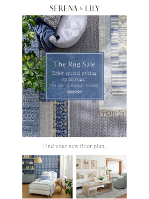 Serena & Lily - Ends tonight: Special pricing on all rugs.