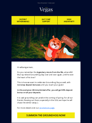 Non-stop deposit bonus on Groundhog Day