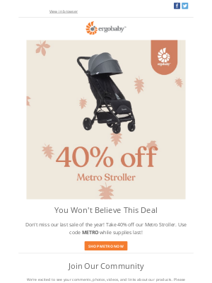 Ergobaby - 40% off the Metro Stroller for a limited time! 😮