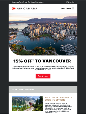 Air Canada - 15% off the perfect Vancouver getaway and more great offers
