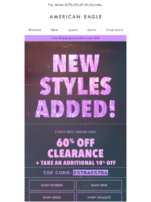 TONS of new styles added to clearance!