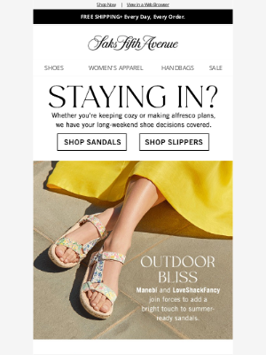 Saks Fifth Avenue - Plans this weekend? We've got shoes for that