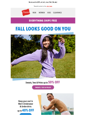 Hanes - Perfect Fall Pairings: Save on comfy layers + Free Shipping!
