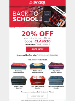 20% Off Ends Today!