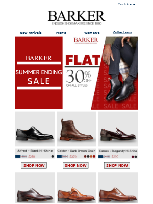 Barker Shoes - Flat 30% Off On All Styles | Limited Time Offer