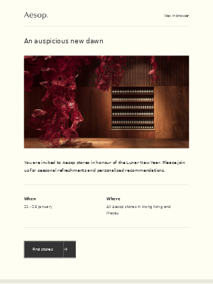 Lunar New Year celebrations at Aesop stores