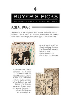 Jayson Home - buyer's pick: vintage azilal rugs