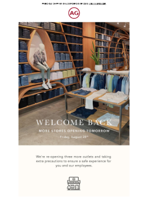AG Jeans - Hi again, 3 additional outlets are reopening