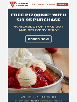 BJs Restaurants - Free Pizookie® with $19.95 purchase!