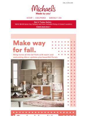 Michaels Stores - You're getting a look at NEW fall décor updates & beautiful florals.