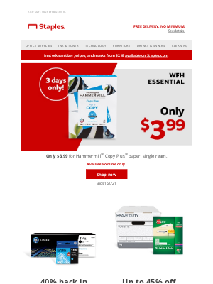Staples - Your paper —now only $3.99.