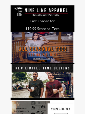 NineLineApparel - Last Day for $19.99 Seasonal Tees + New Limited Time Designs