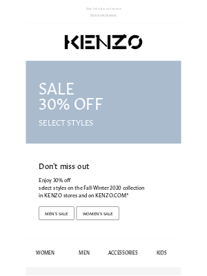 Kenzo - FALL SALE | SELECTION OF 30% OFF