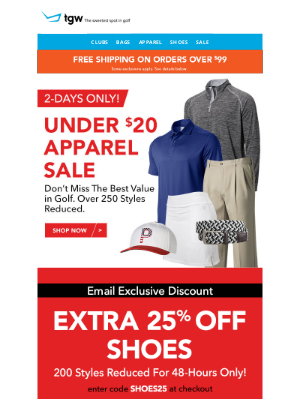 tgw - 2-Days Only! Under $20 Apparel Sale + Extra 25% Off Shoes - Email Only!