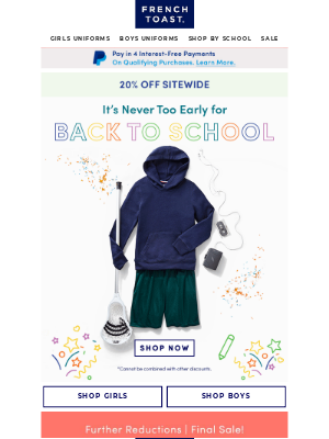 Frenchtoast School Uniforms - Save 20% Off Sitewide & Get Ready for Back to School Now
