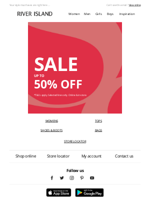 River Island (UK) - OMG! Up to 50% off SALE!