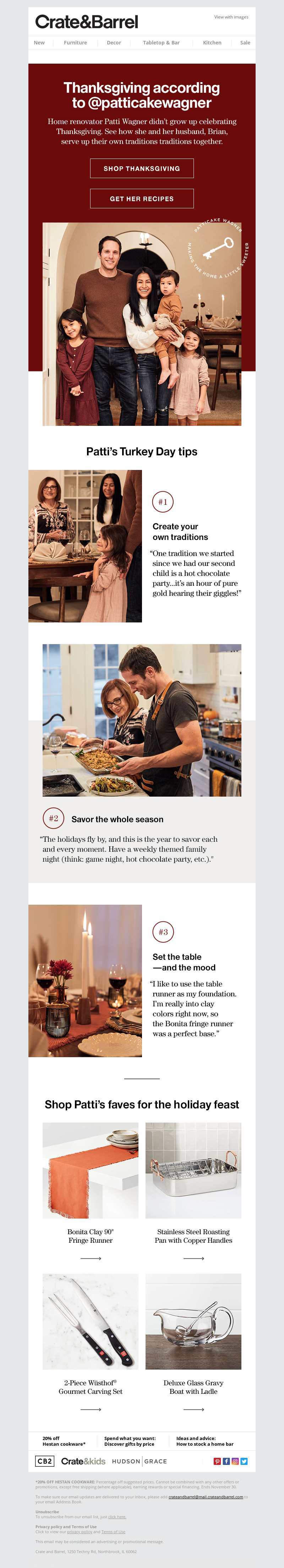 Funny Thanksgiving email from Crate and Barrel
