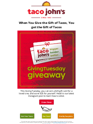 Taco John's - Enter to Win our Giving Tuesday Giveaway!
