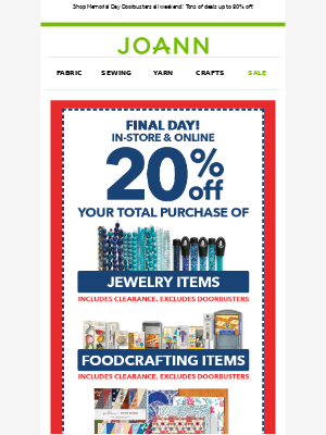 Final day! Save 20% with your coupons!