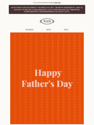 TOD'S - Final Day For Complimentary Express Shipping in Time For Father's Day