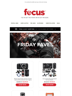 Focus Camera - Save Over $400 On New Camera Gear