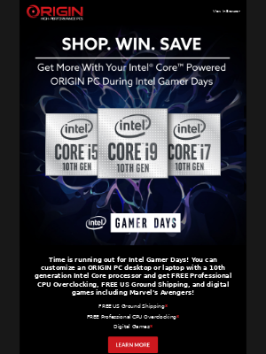 ORIGIN PC - Intel Gamer Days is Almost Over! Get FREE CPU Overclocking, Digital Copy of Marvel's Avengers and More!