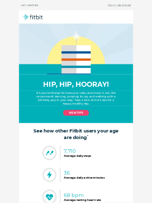 Bright and colorful birthday email design from FitBit