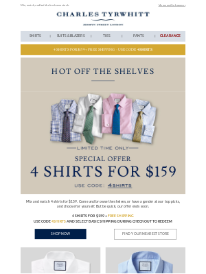 4 shirts for $159 + FREE SHIPPING. Come and have a browse.