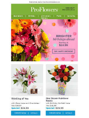 🎉 Birthday blooms starting at $24.99!