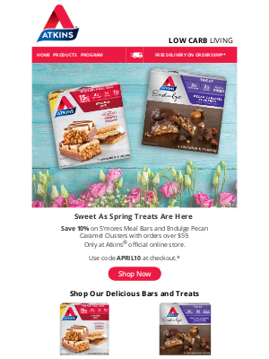 Atkins - 10% Off S'mores Bars and Pecan Caramel Clusters!