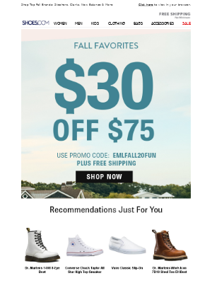 SHOES - $30 OFF Ends Soon!