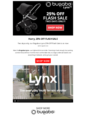 Bambi Baby Store - Hurry, Bugaboo Lynx 25% OFF Flash Sale – Two Days Only!