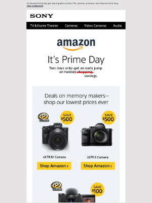 Sony - A Prime Savings Opportunity | Up to $1,000 Off Starting Today