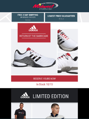 Midwest Sports - The Barricade Is Back! 30-50% off Sale adidas shoes and apparel + Shop New adidas Styles
