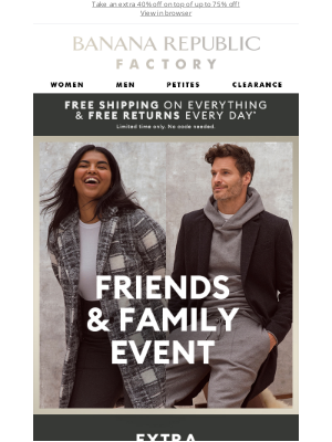 Banana Republic Factory - Today's Friends & Family Picks: Cozy new outerwear