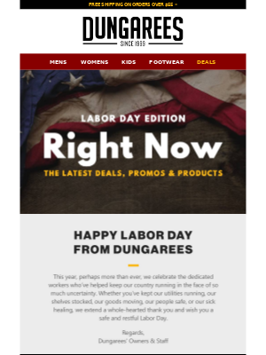 Dungarees - Reminder: Labor Day Deals Expire Tonight