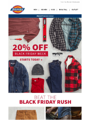 Dickies - Black Friday Starts Now | 20% Off Everything