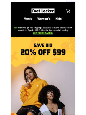 Foot Locker - 🔜 20% off $99 – One Day Only Sale