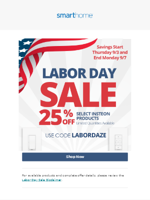 Smarthome - Labor Day Sale Starts Now!
