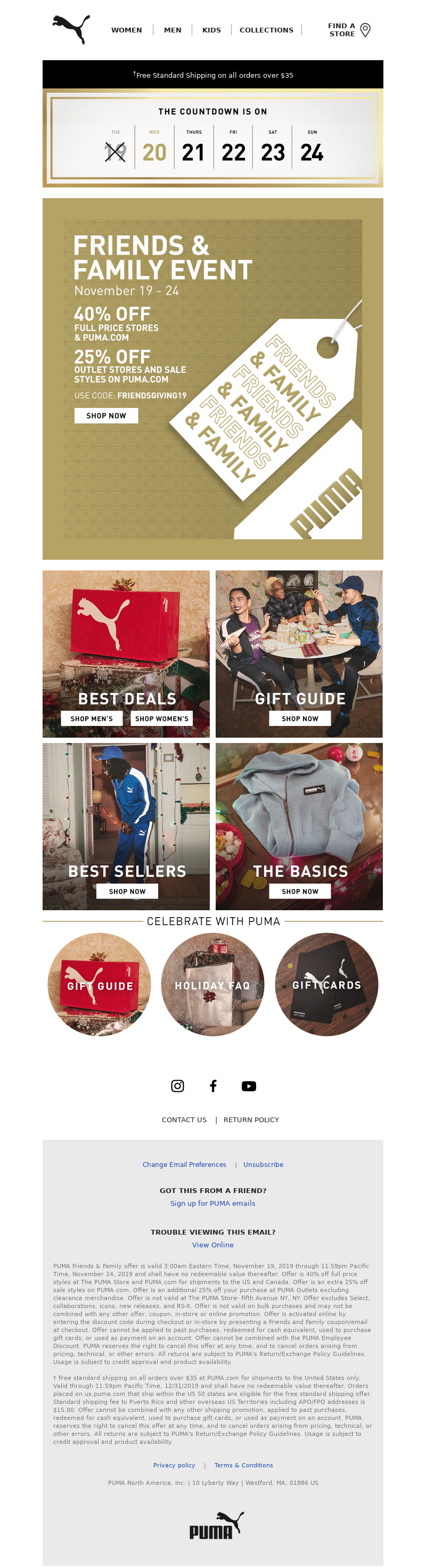 PUMA USA - Gifts for the whole fam. Now 40% off + Extra 25% off Sale