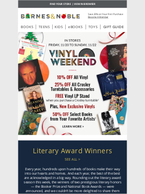 Barnes & Noble - Vinyl Weekend Special Offers - 50% Off Books, 10% Off Vinyl & More