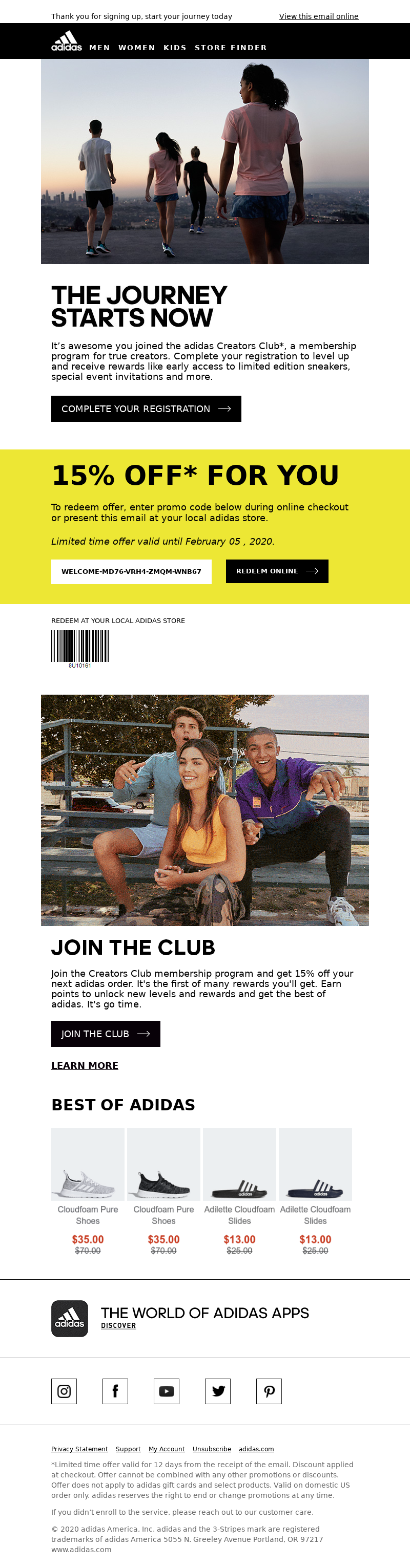 View this email online Adidas Logo MEN WOMEN KIDS STORE FINDER THE JOURNEY