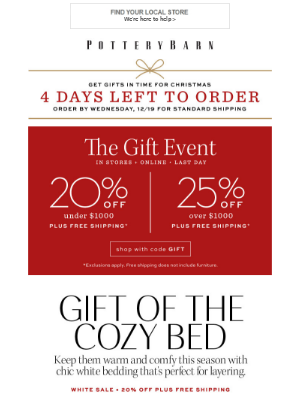 LAST DAY for up to 25% Off Storewide + Give the Gift of Cozy with 20-60% Off Bedding!