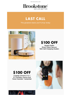 Brookstone - Up to $100 Off Here Today, Gone Tomorrow