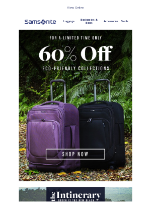 Samsonite - Limited Time Deal: 60% off Eco-friendly collections 🌳