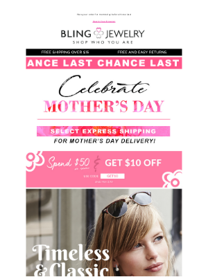 Bling Jewelry - Make Mom Sparkle: Express Shipping for Mother's Day!