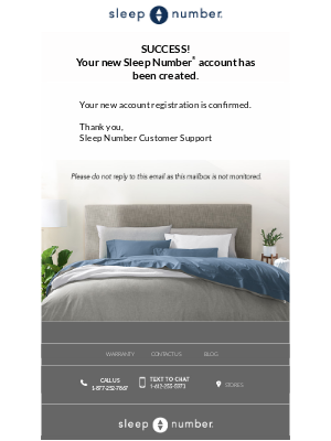 Account confirmation email that includes no CTA