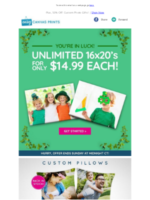 Easy Canvas Prints - Unlimited 16x20's For $14.99 Each ☘️ Your Luck Keeps Getting Better!